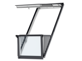 VELUX - GDL SK19 SK0W224 - Double white-painted CABRIO balcony, triple glazing, tile, 238x252