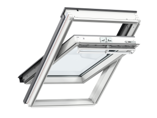 VELUX - GGL MK04 S10L02 - WP centre-pivot RW, insulated slate flashing, beige duo-blackout blind